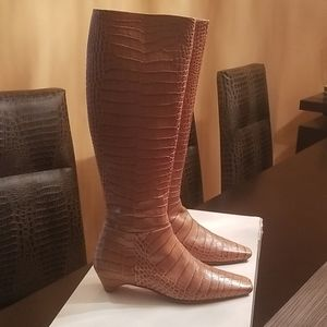 Dior light brown crocodile design leather boots